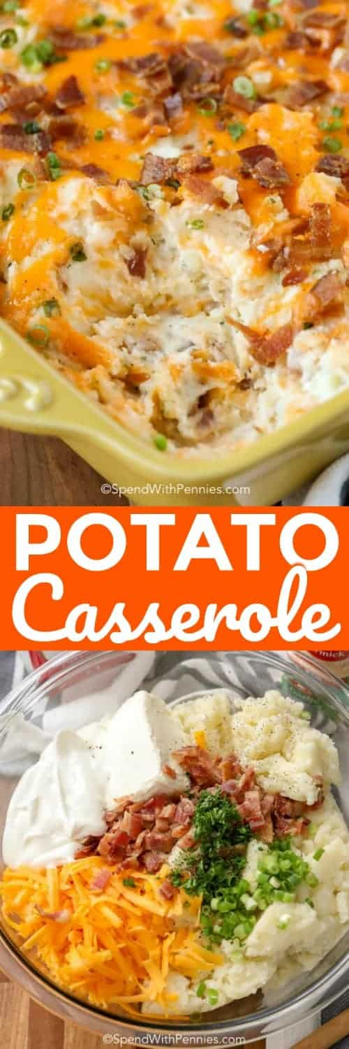 two pictures of potato casserole with text