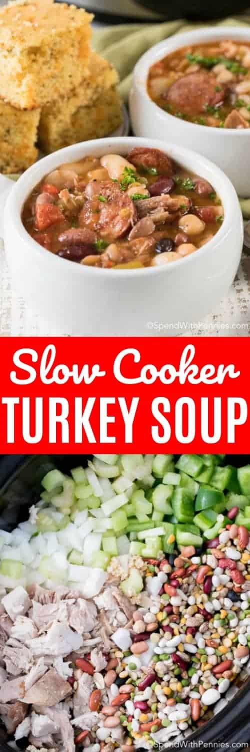 two pictures of Slow Cooker Turkey Bean Soup with text and beans