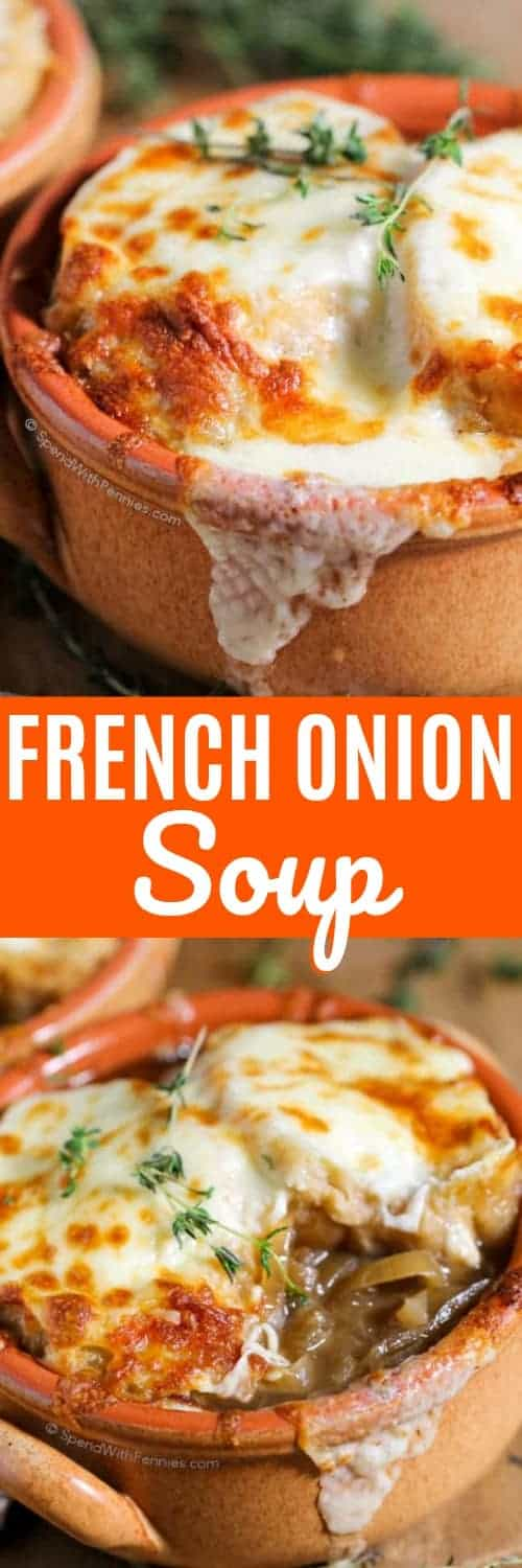 French Onion Soup features sweet caramelized onion in a rich beefy broth. This meal cooks up effortlessly in the slow cooker all day! #spendwithpennies #easysoup #slowcooker #crockpot #frenchonion #beefbroth #frenchonionsoup #easylunch #bakedsoup #slowcookersoup