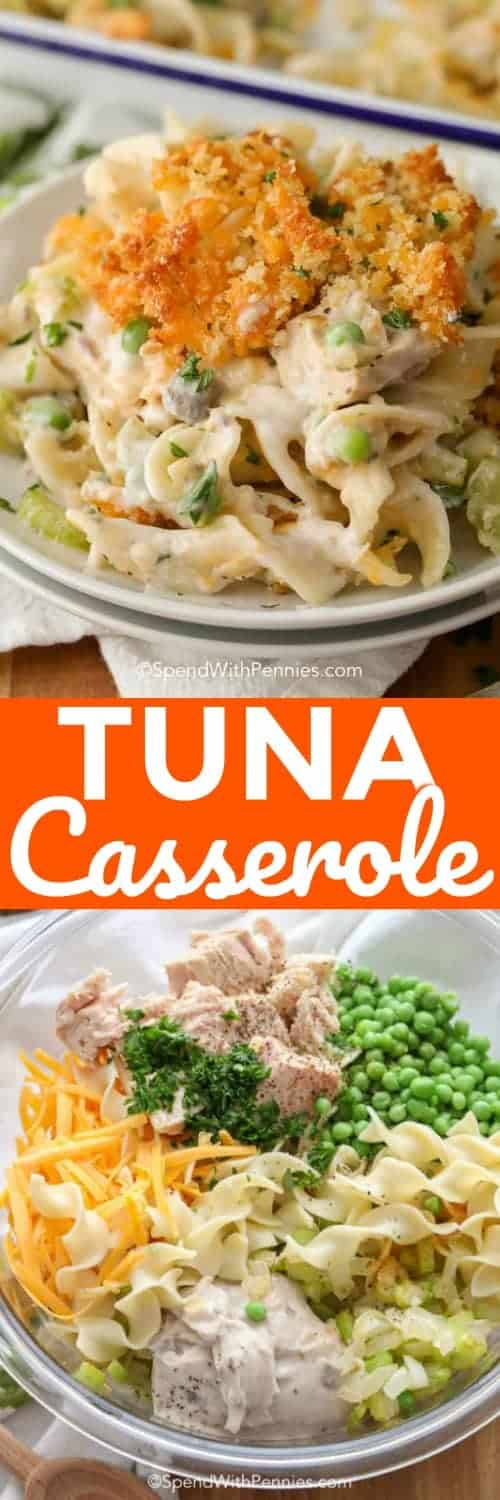 Tuna casserole is a family staple that couldn't be easier for a weeknight dinner! #spendwithpennies #tuna #casserole #tunacasserole #tunanoodlecasserole #cheese #noodles