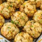 Make Ahead Corn Stuffing on a baking tray
