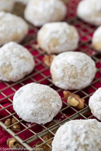 Mexican Wedding Cookie with pecans on cooling rack