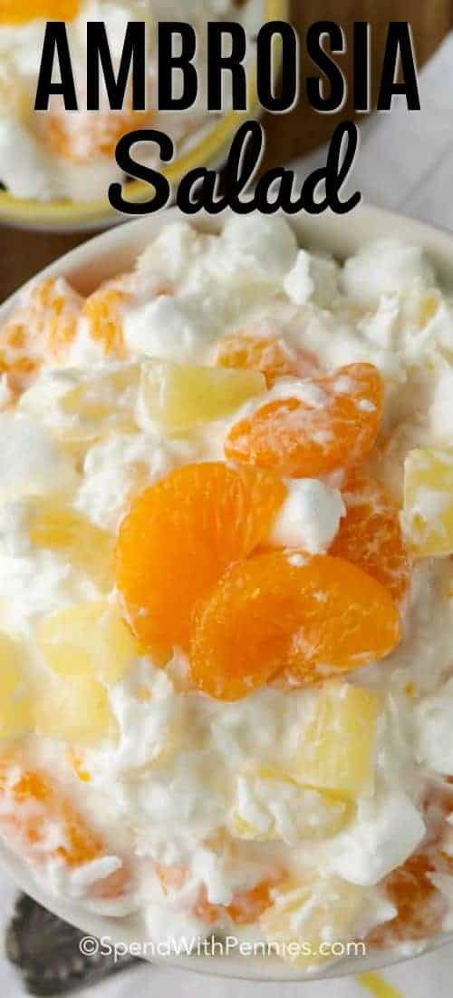 Ambrosia Salad with writting