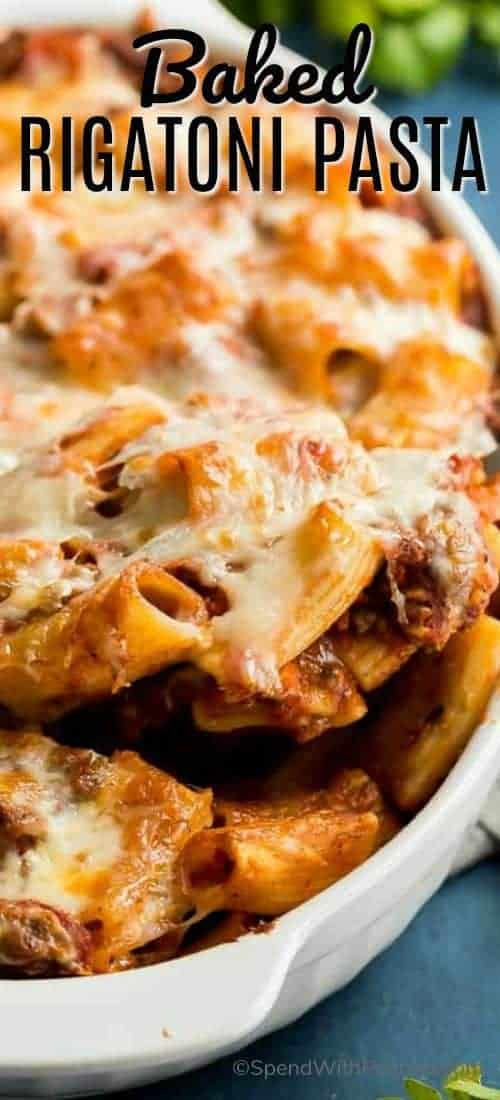 Baked Rigatoni Pasta in a white baking dish