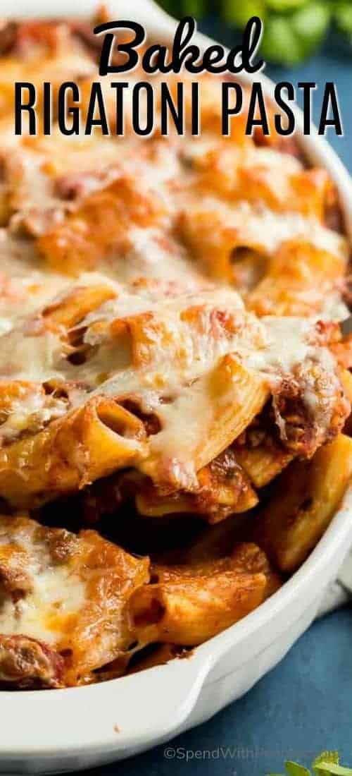 This easy baked Rigatoni Pasta is made with a homemade tomato-based meat sauce and tons of mozzarella cheese! #spendwithpennies #easyrecipe #pastadinner #easydinner #pastarecipe #withbeef #casserole #easycasserole #pasta