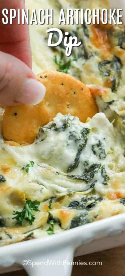 Spinach Artichoke Dip with text and cracker