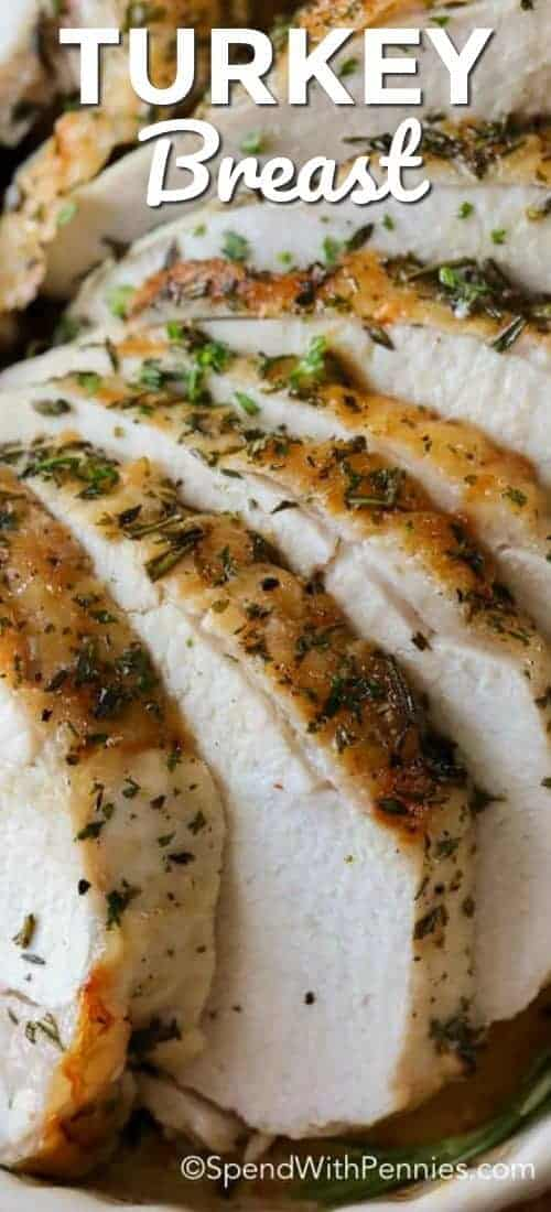 Roasted Turkey Breasts sliced and in a white dish