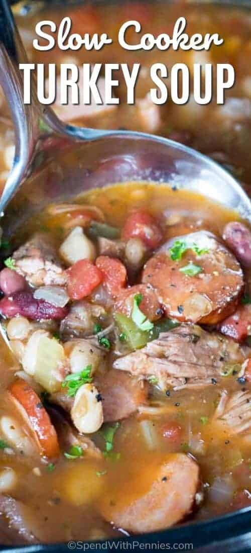 Slow Cooker Turkey Bean Soup with writing