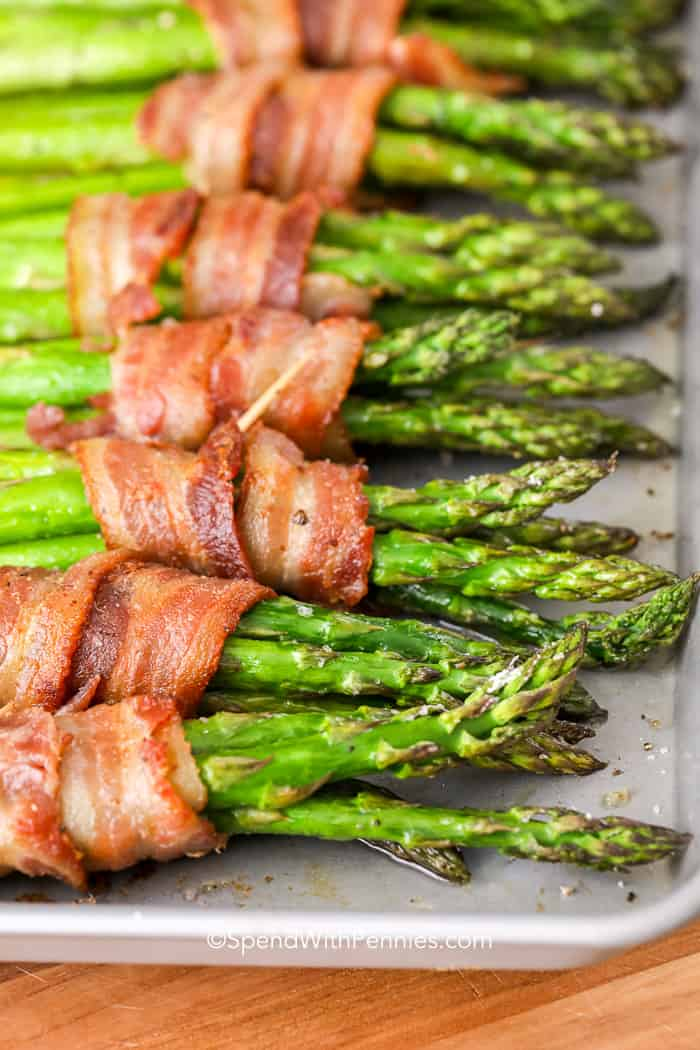 Bacon wrapped asparagus fresh from the oven ready to eat.