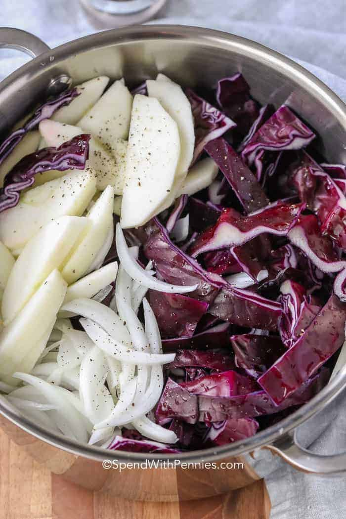 Apples, onions, and red cabbage in a stock pot ready to make braised red cabbage