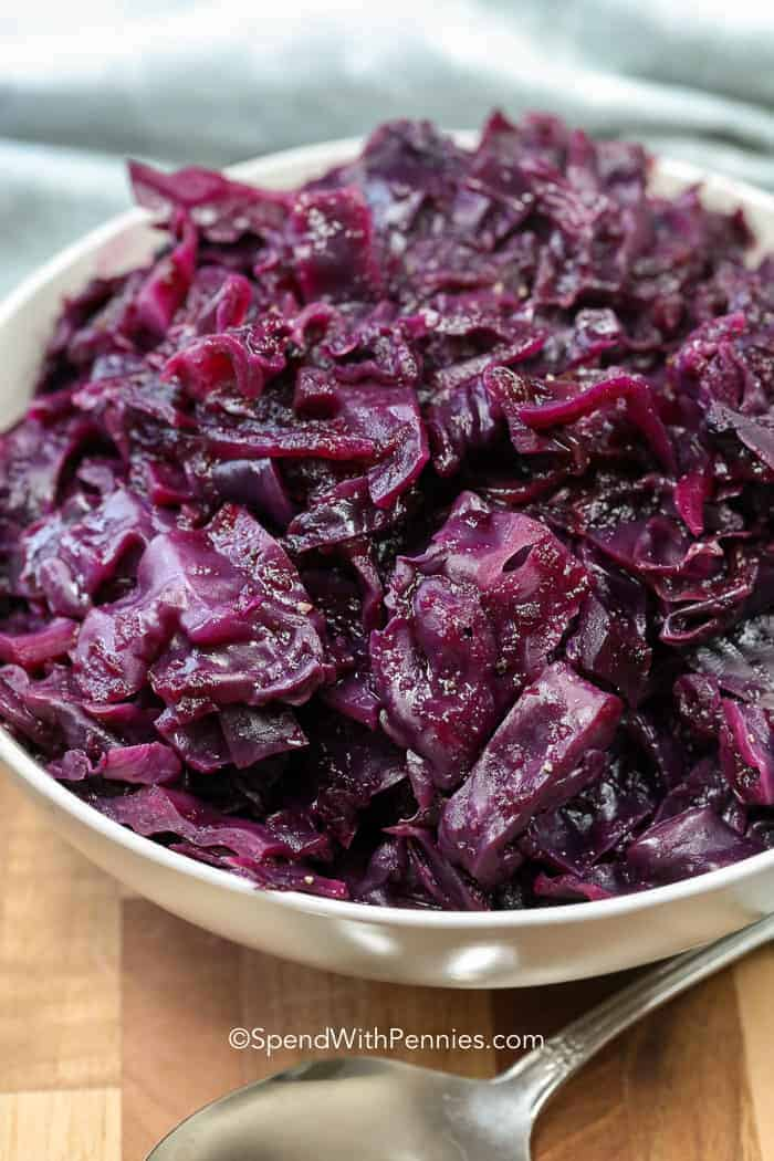 A bowl filled with braised red cabbage ready to enjoy!