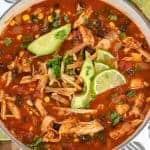 tortilla chicken soup in pot