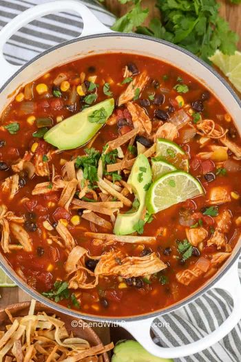 tortilla chicken soup in pot