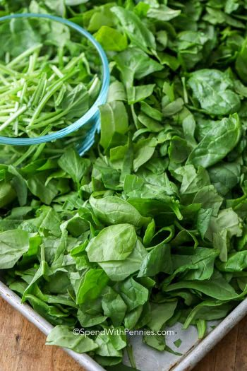 spinach on pan