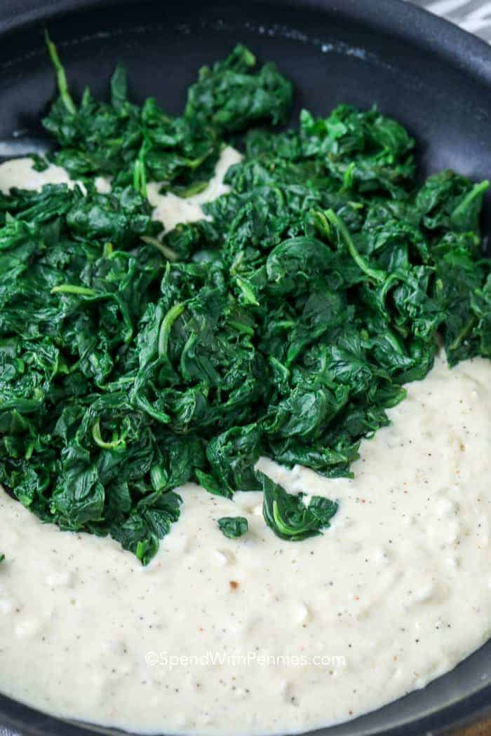 creamed spinach in pan unmixed
