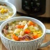 ham bone soup in cup