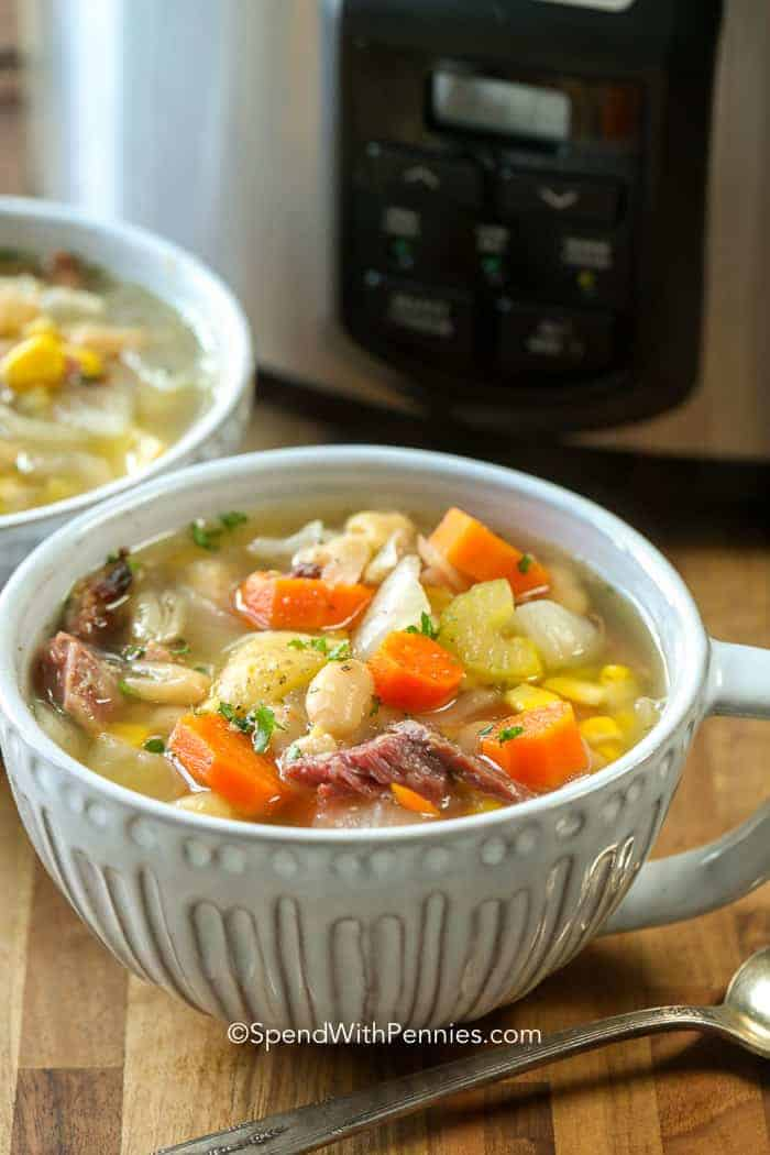 A delicious bowl of Slow Cooker Ham Bone Soup with Vegetables