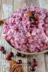 Millionaire Cranberry Salad with pecans on top