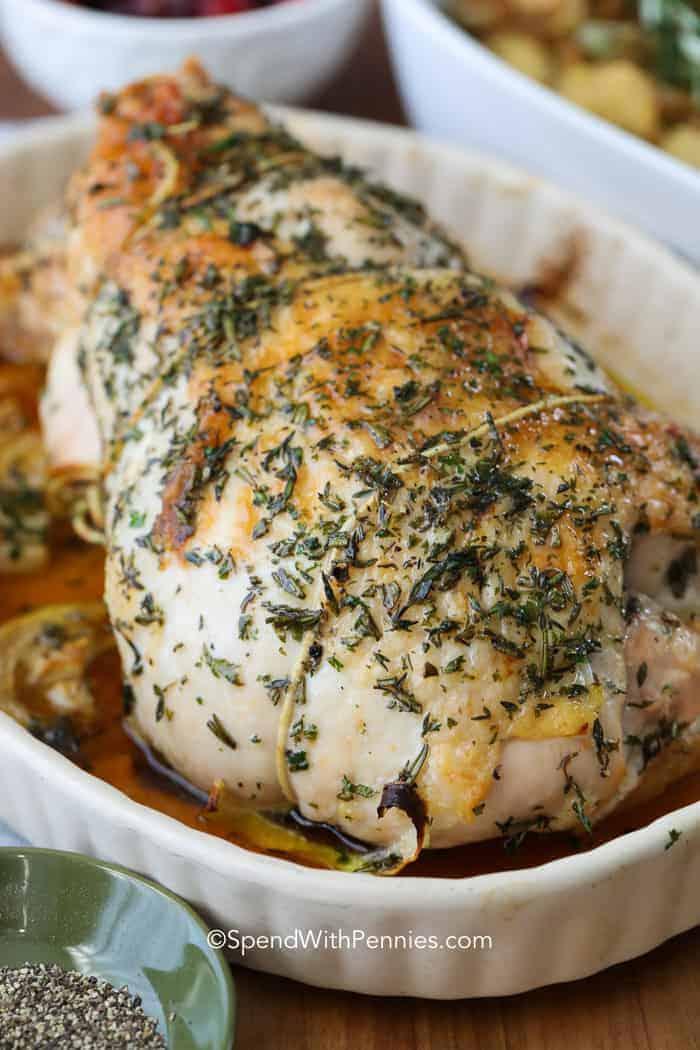 whole turkey breast in pan
