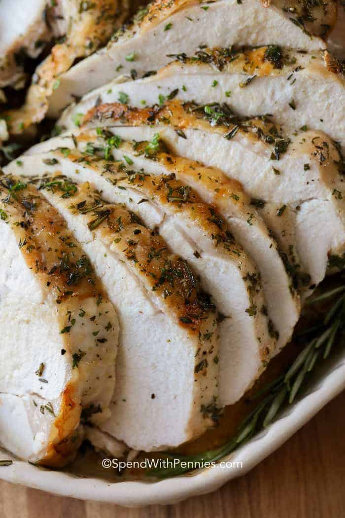 Roast Turkey Breast sliced and ready to serve