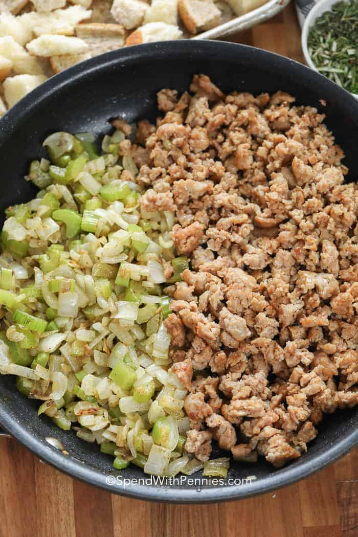 A pan of sausage, celery and onions ready prepared to make perfect sausage stuffing.