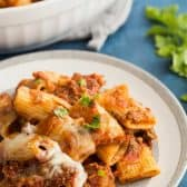 rigatoni pasta with meat sauce plated