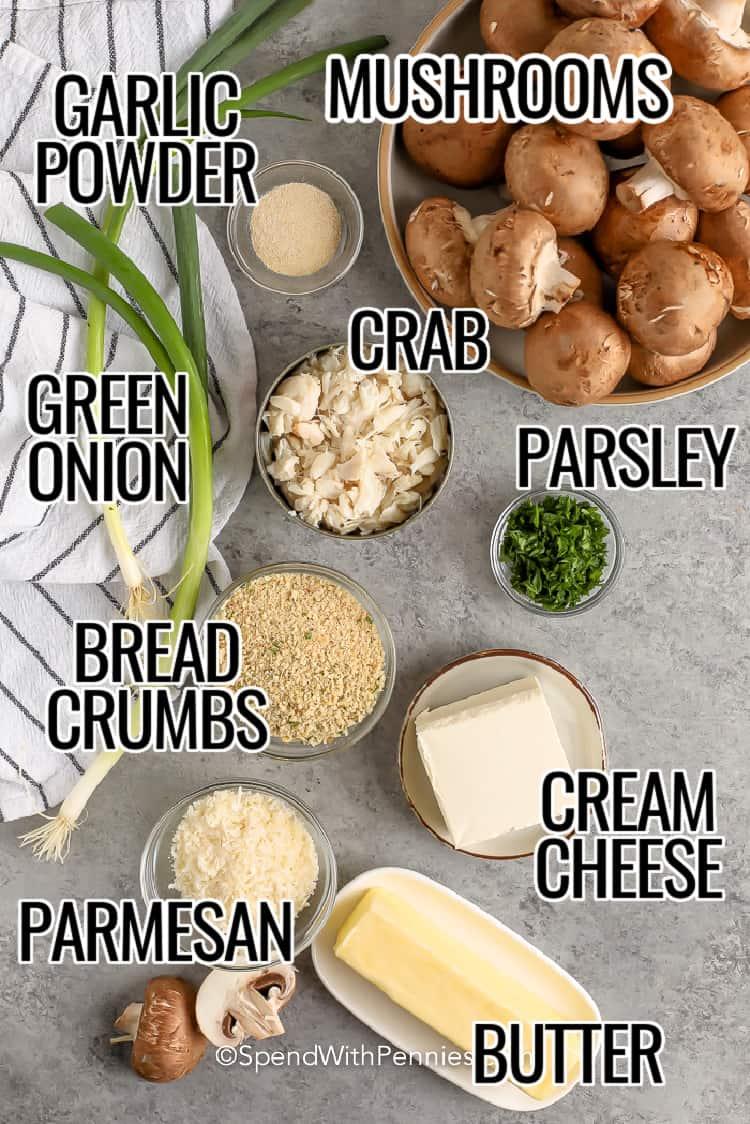 Crab Stuffed Mushrooms Ingredients