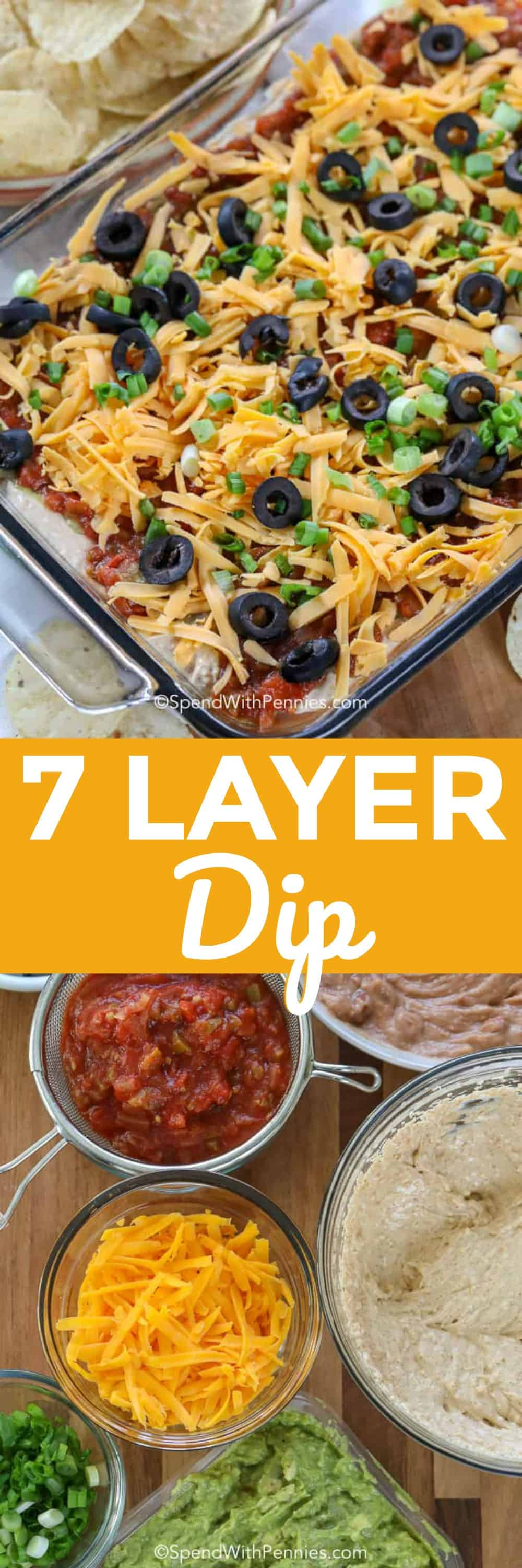7 layer dip ingredients and 7 layer dip in a casserole dish with a title