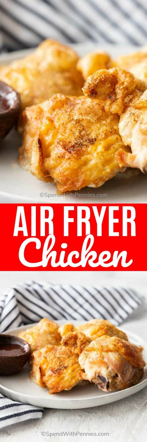 Air Fryer Chicken on a plate with writing