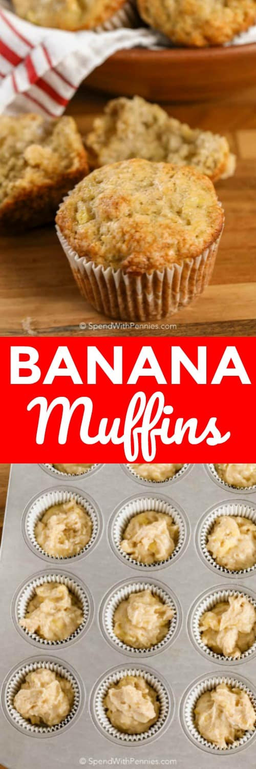 Raw Banana Muffins in a muffin tin and baked Banana Muffins with writing