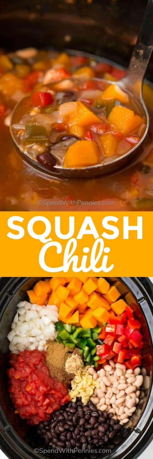 Slow Cooker Butternut Squash Chili is the perfect fall meal. This recipe is easy to prepare. Just simply add in some of your fall favorite vegetables and let your slow cooker do the work. The results will warm you from the inside out! #spendwithpennies #butternutsquash #squash #chili #easyrecipe #easychili #homemade #comfortfood