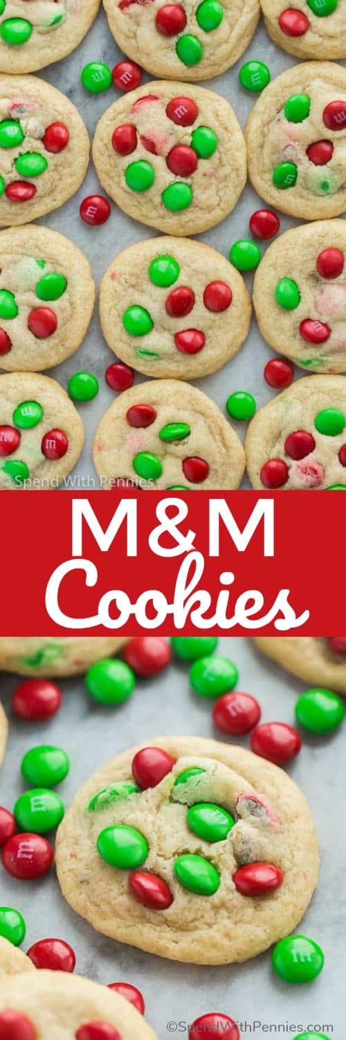 These Christmas M&M Cookies are perfectly soft and chewy and loaded with red and green M&M's for a holiday twist! #spendwithpennies #cookie #cookies #christmas #baking #dessert #m&m #m&mcookies #easyrecipe