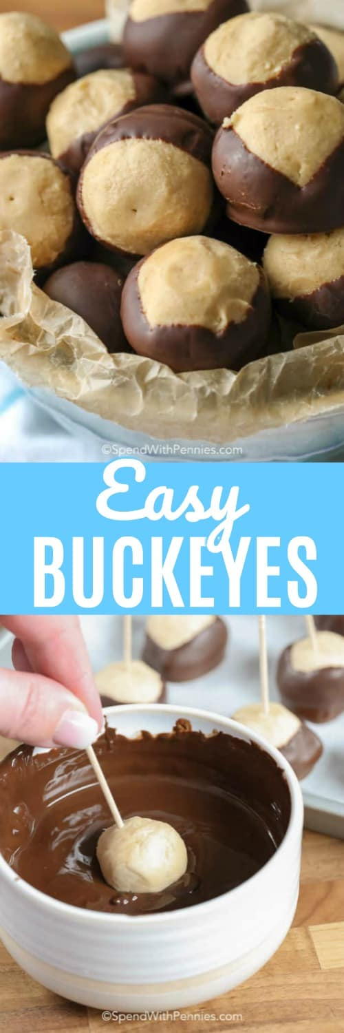 A Buckeye cookie is a delicious no-bake peanut butter ball dipped in chocolate. #spendwithpennies #easyrecipe #buckeyes #peanutbutterballs #buckeyecookes #easydessert #holiday #festivedessert #chocolatedipped