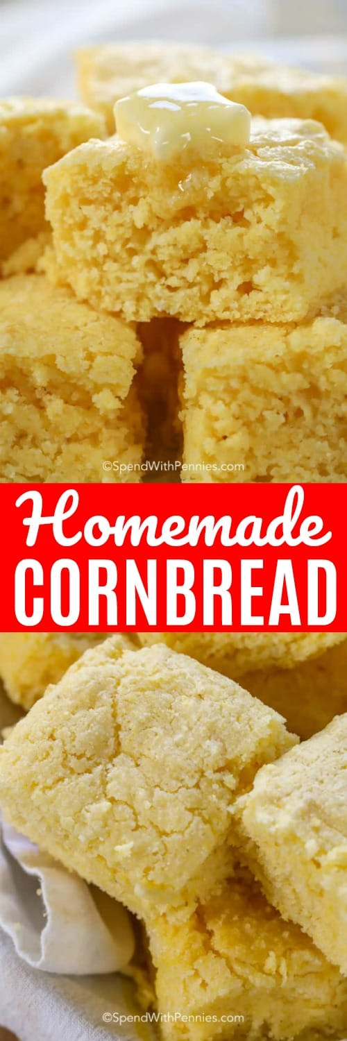 Easy homemade cornbread is the perfect side for chili, soups or stews. Light and so moist, this is my go-to cornbread recipe! #spendwithpennies #cornbread #cornbreadrecipe #easyrecipe #easycornbreadrecipe #homemadecornbread