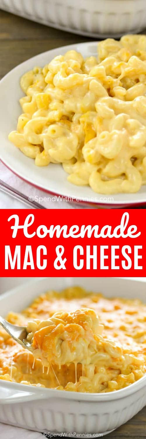 This homemade Mac and Cheese Casserole is a show stopper with oodles of noodles and and luscious cheesy sauce! #spendwithpennies #macandcheese #macaroniandcheese #bakedmacaroni #macandcheesecasserole