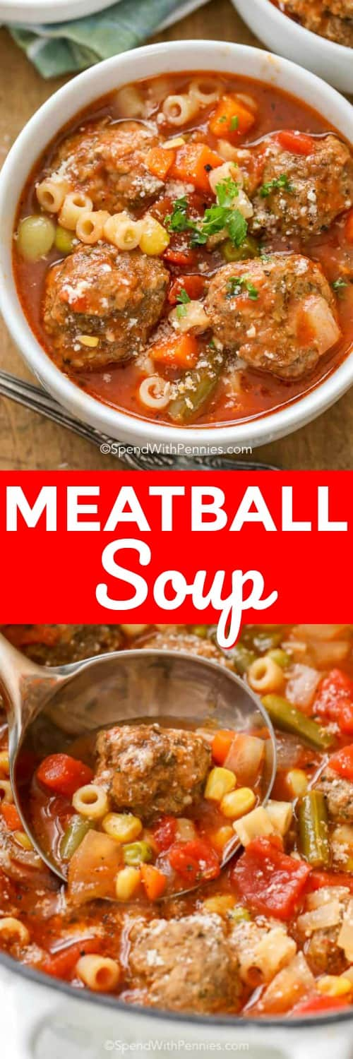 Meatball Soup with a ladle in a bowl and with writing