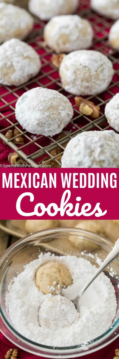 Mexican Wedding Cookies being dipped in powdered sugar and on a cooling rack with writing