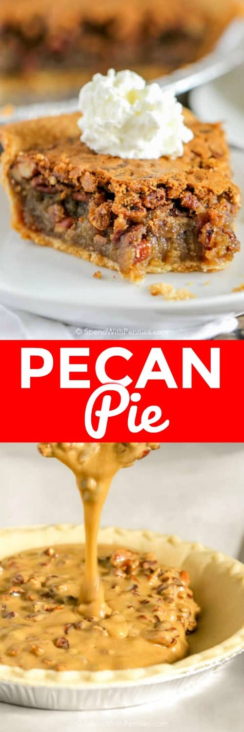 Easy Pecan Pie Recipe with delicious gooey filling topped with whipped cream. #spendwithpennies #pecanpie #easyrecipe #easypie #withpecans #holidayrecipe #festiverecipe #holiday