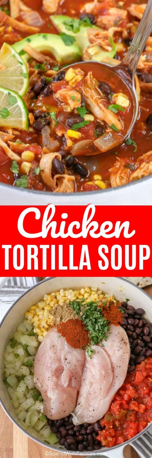 This easy chicken tortilla soup is the perfect comfort food. We love serving this any time of year! #spendwithpennies #chicken #chickensoup #chickentortillasoup #tortillasoup #mexican #mexicansoup