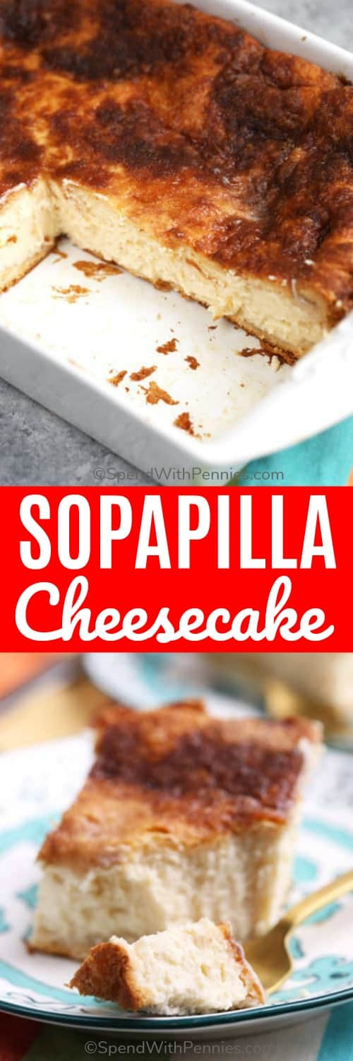 Easy Sopapilla Cheesecake is a simple dessert made of a thick, sweet cheesecake layer sandwiched between flakey crescent dough with a touch of cinnamon sugar.#sopapilla #spendwithpennies #sopapillacheesecake #mexicandessert #dessert #cheesecake