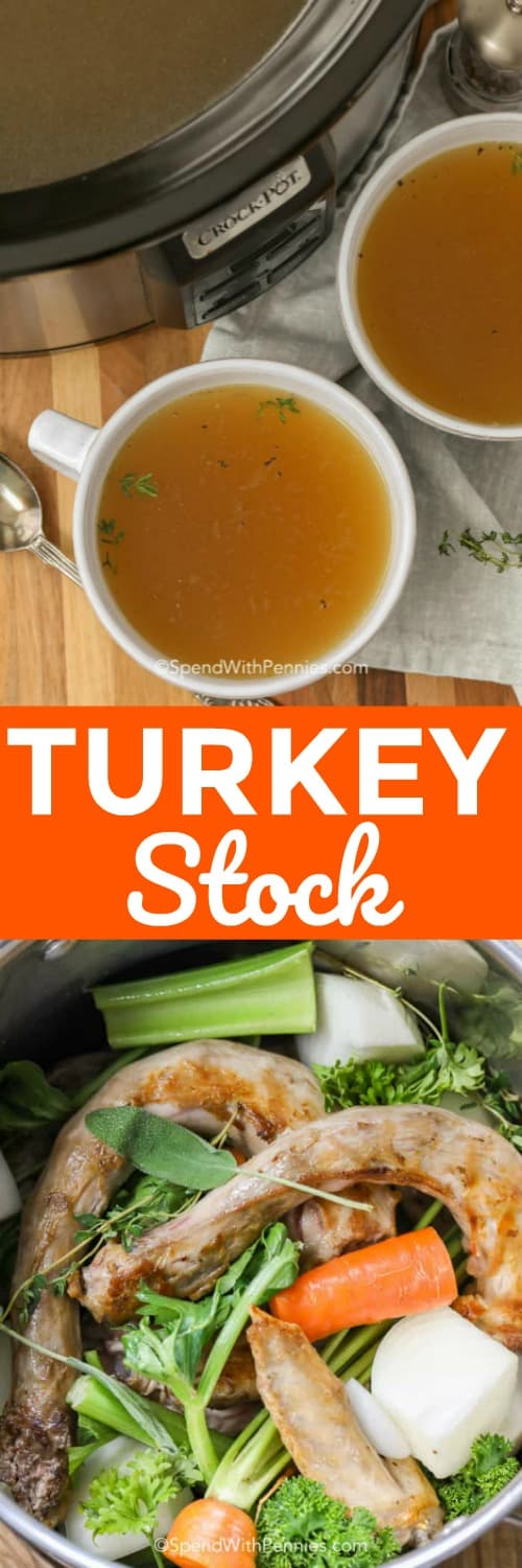 Turkey Stock ingredients in a crock pot and in mugs with writing
