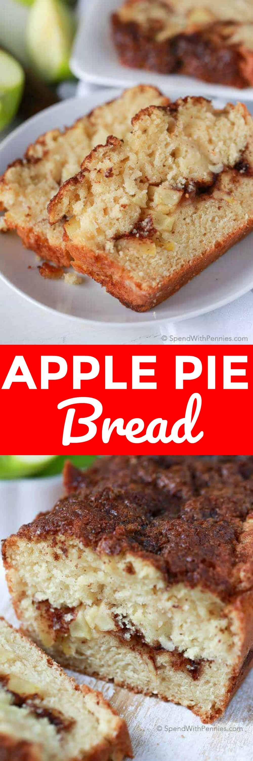 Warm Apple Pie Bread starts with a soft buttery base and loads of fresh apples mixed within and layered throughout with a cinnamon ribbon. It's all topped off with a sweet and crunchy cinnamon topping for the perfect apple pie inspired slice. #spendwithpennies #easyrecipe #easybread #applepie #quickbread #applerecipe