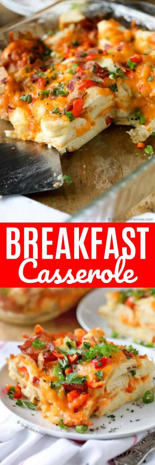 Breakfast Casserole on a plate and in a dish with a title