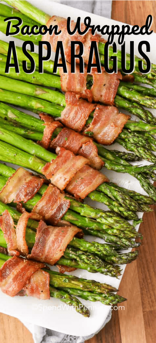 Bacon and asparagus are great on their own, but this bacon wrapped asparagus recipe is simply delectable! #spendwithpennies #easyrecipe #easysidedish #baconwrappedasparagus #baconwrapped #sidedish #holidayside #festiveside