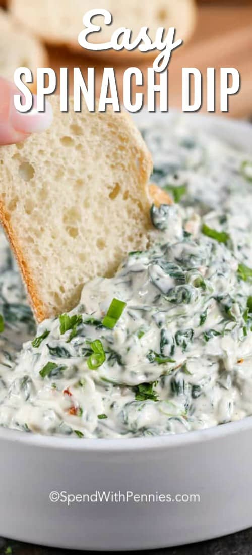 Spinach Dip is an easy 5 minute recipe that everyone absolutely loves. This is the perfect game day appetizer recipe! #spendwithpennies #spinachdip #appetizer #appetizerrecipe #easyrecipe