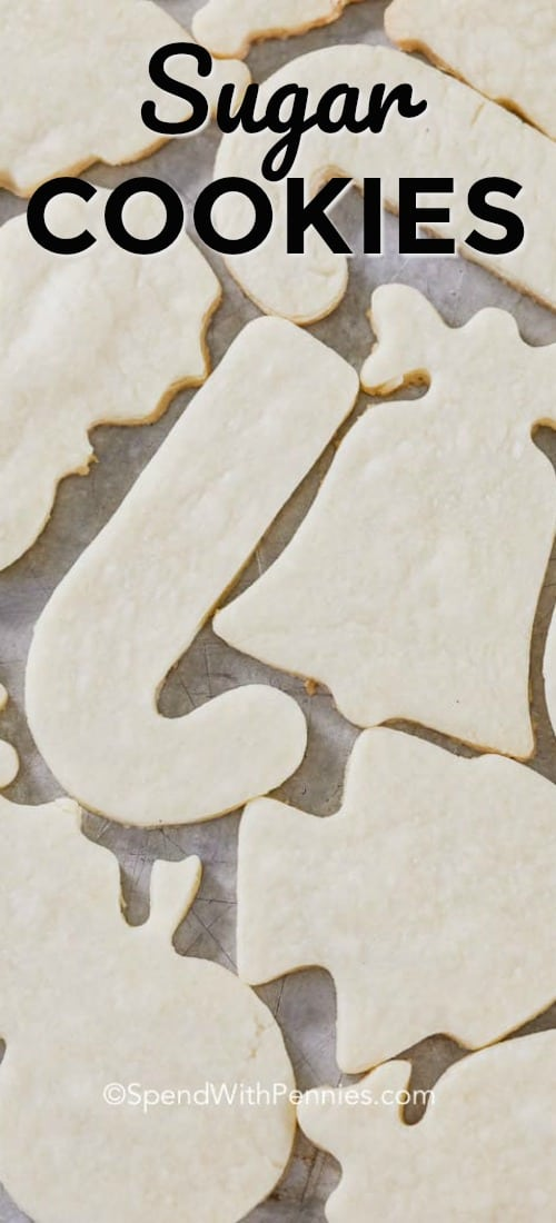 Easy Sugar Cookies on a sheet pan with writing