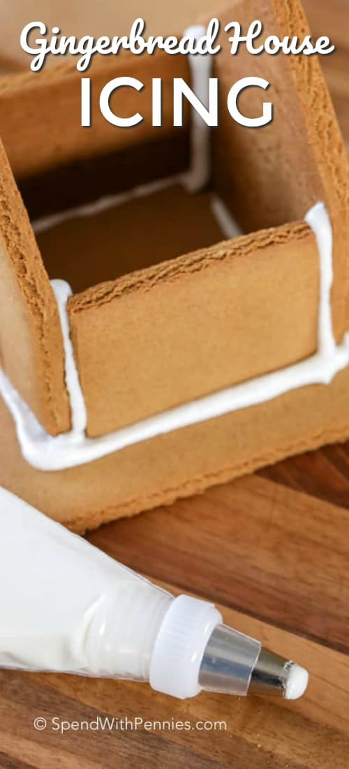 Gingerbread House Icing is the perfect royal icing recipe to hold together all of your baked gingerbread cookies! #spendwithpennies #easyicing #gingerbread #gingerbreadhouseicing #easyrecipe #holiday #festiverecipe #gingerbreadhouse