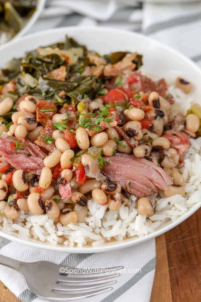 Black Eyed Peas on a bed of rice