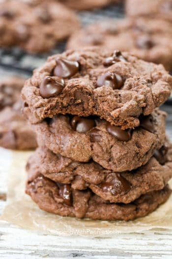 Stack of Chocolate Cake Mix Cookies
