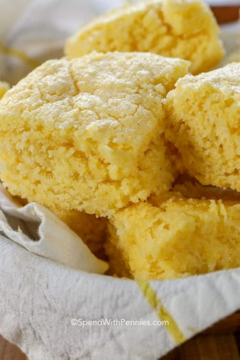 Pile of Homemade Cornbread in a basket